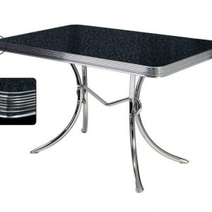 TO36 Table fifties retro vintage avec plateau formica brillant noir