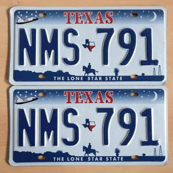 Texas_A2 Plaque immatriculation americaine paire