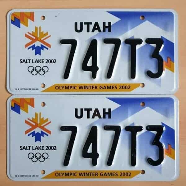Plaque d'immatriculation USA – UTAH – 2 Plaques identiques