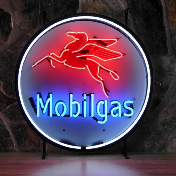 ENT 8275 Mobilgas neon publicitaire en verre