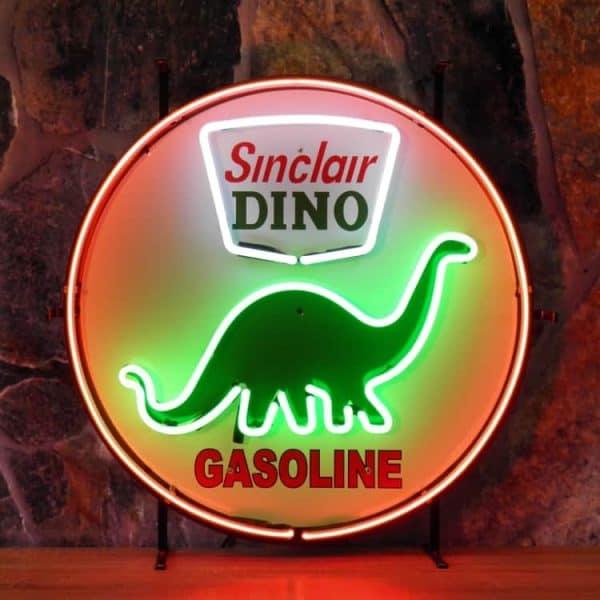 ENT 8278 Sinclair Dino neon publicitaire en verre