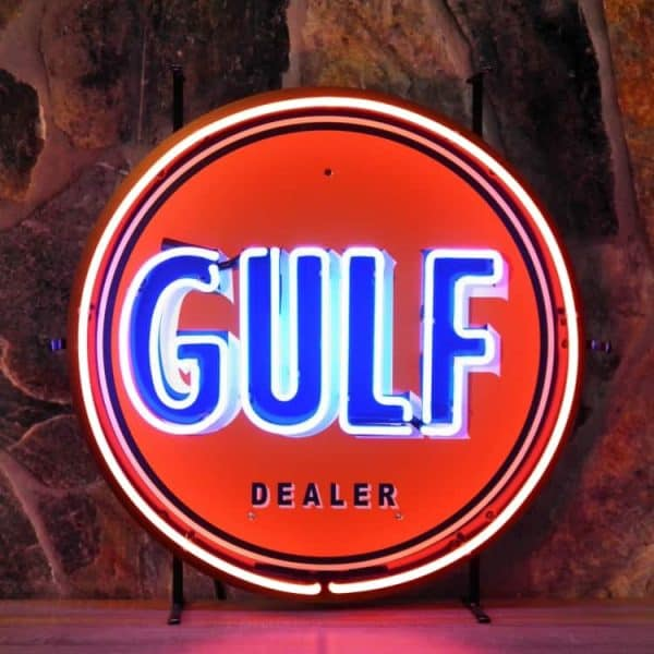 ENT 8346 Gulf dealer neon publicitaire en verre