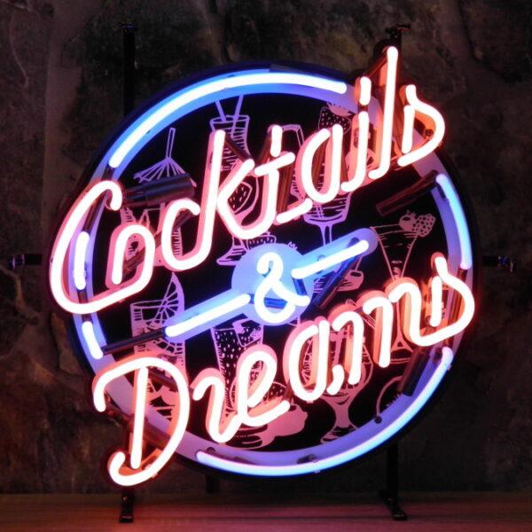 ENT 8365 Cocktails & Dreams neon publicitaire en verre