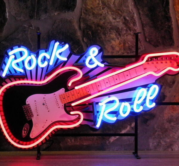 ENT 8369 Rock n Roll guitar neon publicitaire en verre