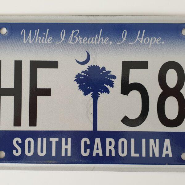 Plaque immatriculation americaine Caroline du Sud