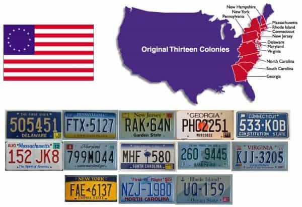 13th colonies of America – Plaques d'immatriculation