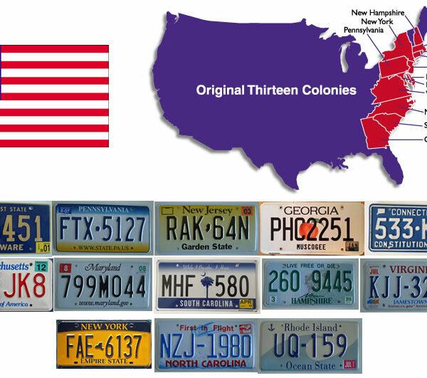 Plaques immatriculations des 13 etats americains ayant constitues les 13 colonnies