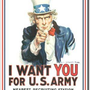Plaque publicitaire américaine métal I want you for Us Army