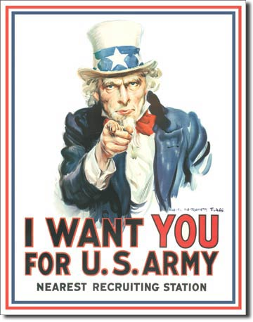 Plaque publicitaire américaine métal I want you for Us Army