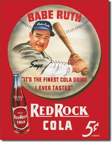 Plaque publicitaire américaine métal Babe Ruth / Red Rock Kola