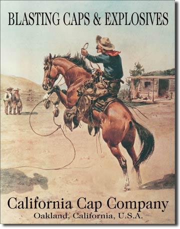 Plaque publicitaire américaine métal California Cap