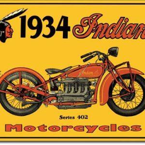 Plaque publicitaire américaine métal 1934 Indian Motor