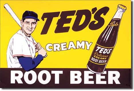 Plaque publicitaire américaine métal Ted's Creamy Root Beer