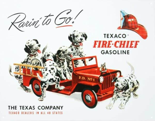 Plaque publicitaire américaine métal Texaco – Rarin' to Go