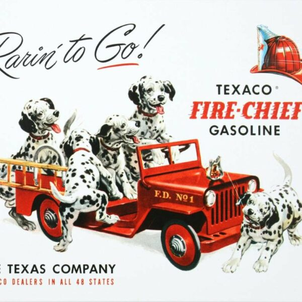 Plaque publicitaire américaine métal Texaco - Rarin' to Go