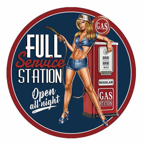 Plaque publicitaire bombee Full Service Girl Gas Station