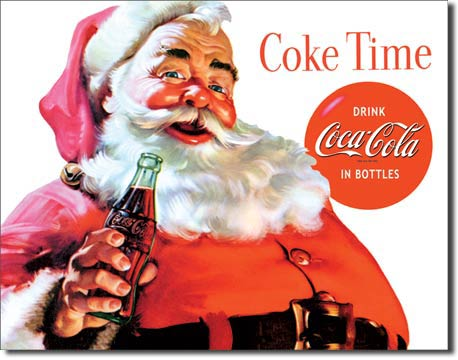 Plaque publicitaire The Coca-Cola Company- Santa Coke Time