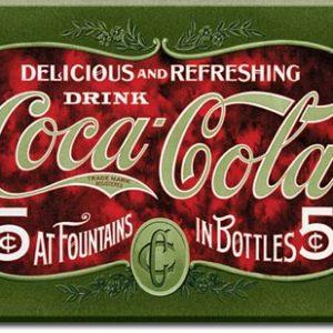Plaque publicitaire The Coca-Cola Company - 1900's 5 Cent