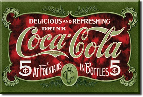 Plaque publicitaire The Coca-Cola Company - 1900's 5 Cent