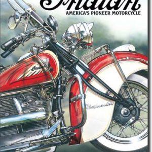 Plaque publicitaire américaine métal Indian - America's Pioneer