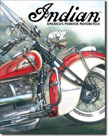 Plaque publicitaire américaine métal Indian – America's Pioneer