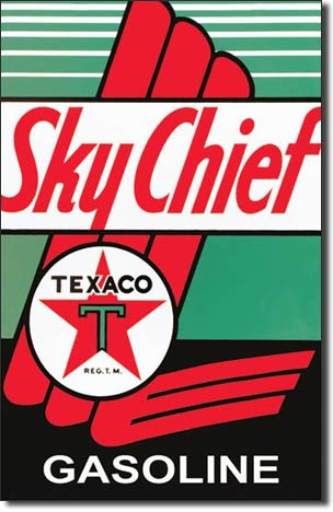 Plaque publicitaire américaine métal Texaco - Sky Chief
