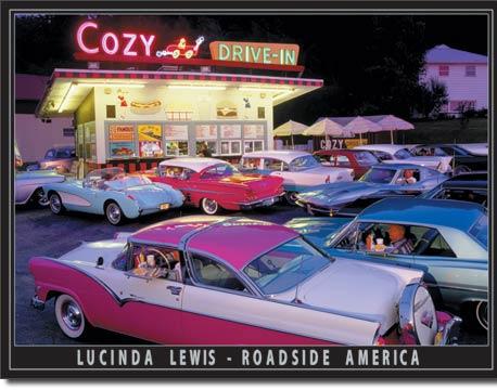 Plaque publicitaire américaine métal L.Lewis - Cozy Drive In