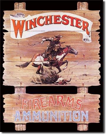 Plaque publicitaire américaine métal Winchester Express Rider
