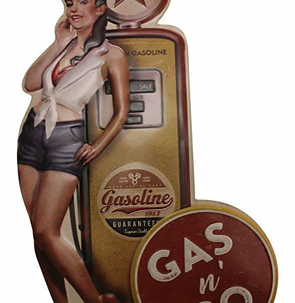 Plaque embosee Pin Up Vintage et Pompe a essence