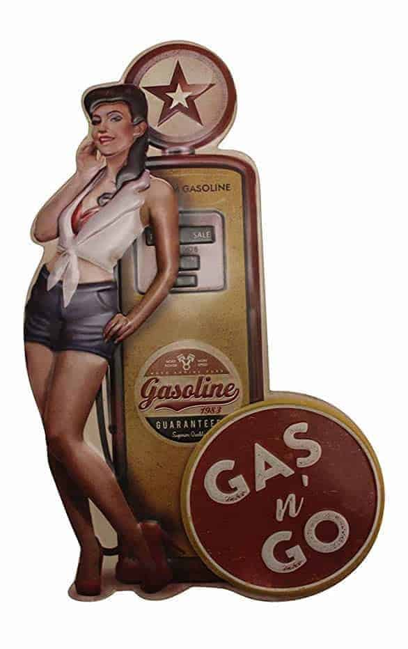 Plaque murale embossée Pin-Up Gas n' Go
