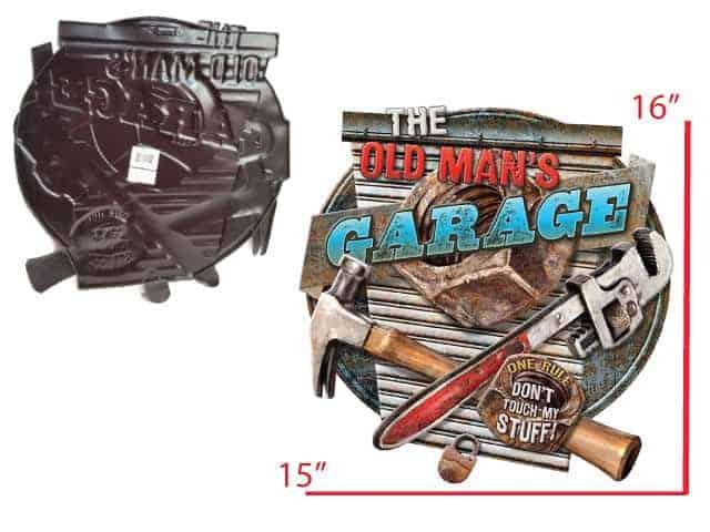Plaque metal embossee Old s men Garage