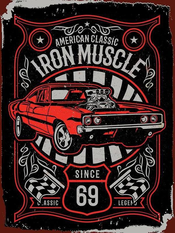 Plaque de décoration murale Iron Muscle Car