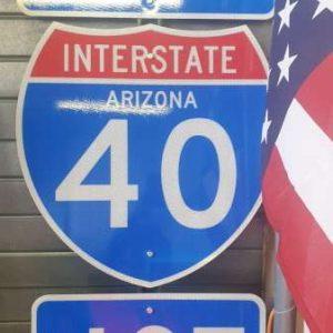 Panneau routier highway americaine 40 Arizona West Jct
