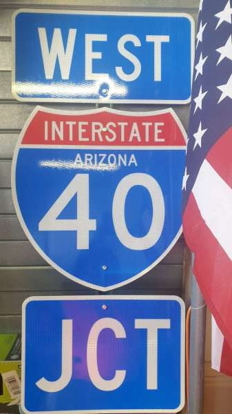 Panneau routier highway americaine 40 Arizona West Jct