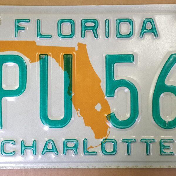 Plaque immatriculation Floride map orange