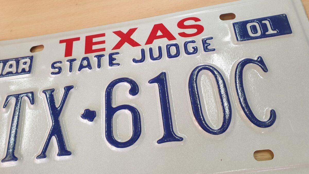 Plaque d'immatriculation authentique provenant de voiture americaine de collection Texas_A3 State Judge