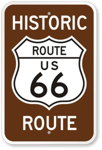 Historic Route 66 Panneau Routier De La Ville De Williams