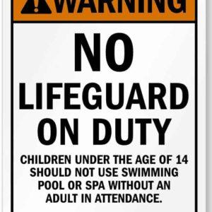 Panneau de sécurité de piscine de motel américain