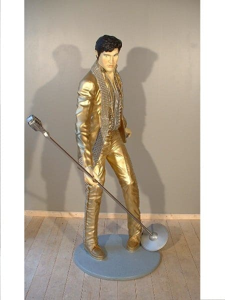Elvis Gold Statue Grandeur Nature 1m90 Costume Dore