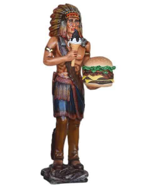 Indien Avec Hamburger Et Glace Statue Grandeur Nature 1m88
