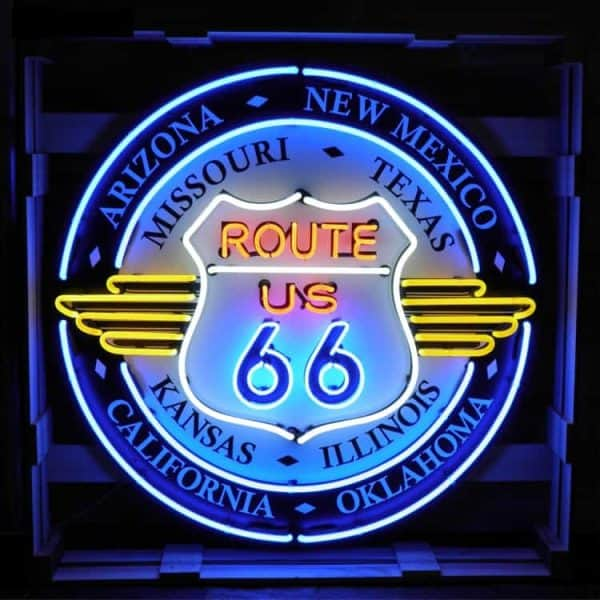 Ent 6021 Route 66 All States Large Neon Lumineux Publicitaire Deco Americaine