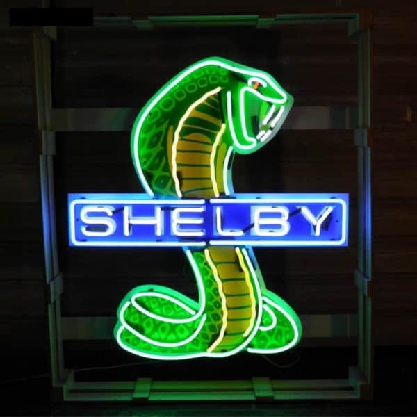 Ent 6022 Shelby Cobra Snake Neon Large Lumineux Publicitaire Deco Americaine