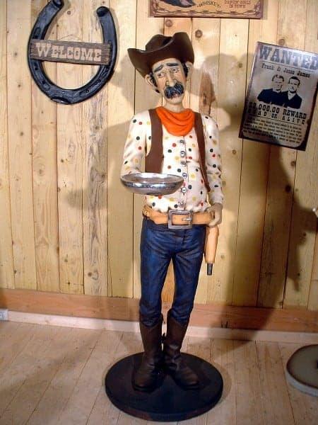 Cowboy Serveur Statue Grandeur Nature Western St1744