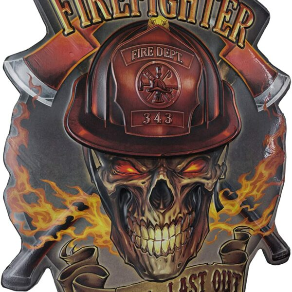 Firefighter Shaped Embossed Sign 191557