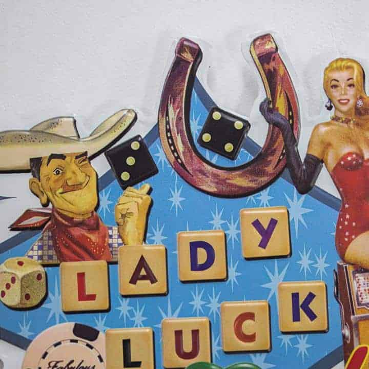 Lady Luck Shaped Embossed Sign 257264 1