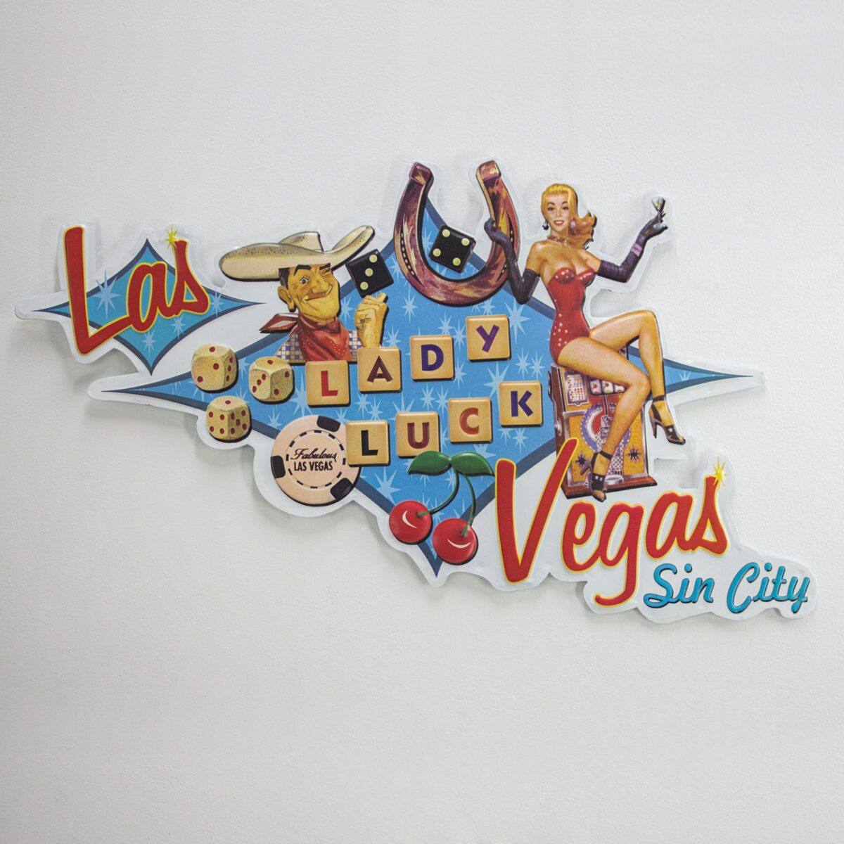 Lady Luck Shaped Embossed Sign 257264 3