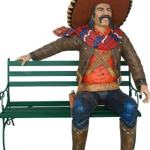 Mexicain Assis 2914 Statue Taille Reelle Mexican Cowboy