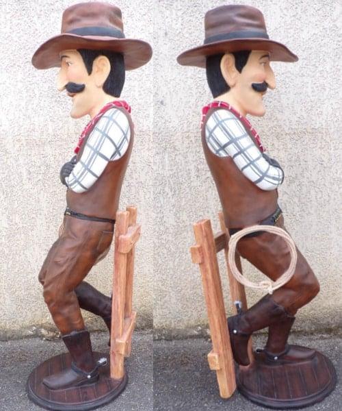 Statue Cow Boy Cartoon Fence Sv C173 1