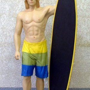Surfeur Avec Surf Ardoise Taille Reelle St Ds Statue Grandeur Nature En Resine Et Fibre De Verre