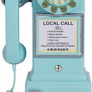 Téléphone de Cabine Payphone Américain Vintage 50's Turquoise